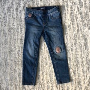 Little girls jeggings with sequin patch detail